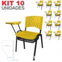 Cadeira Universitária Plástica Amarela Com Porta Livros 10 Unidades Prancheta Plástica - ULTRA Móveis