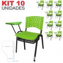 Cadeira Universitária Plástica Verde Com Porta Livros 10 Unidades Prancheta Plástica - ULTRA Móveis
