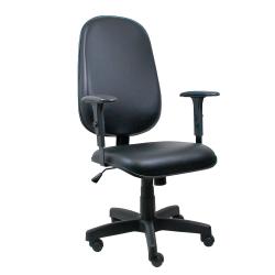 Cadeira Presidente Operativa Com Braço Regulável Couro Ecológico Preto - ULTRA Móveis