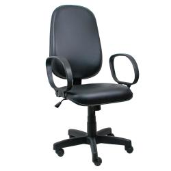 Cadeira Presidente Operativa Com Braço Couro Ecológico Preto - ULTRA Móveis