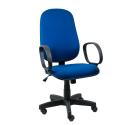 Cadeira Presidente Operativa Com Braço Tecido Azul com Preto - ULTRA Móveis
