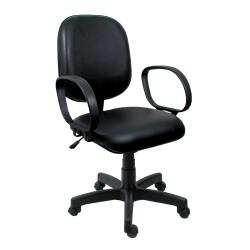 Cadeira Diretor Operativa Com Braço Couro Ecológico Preto - ULTRA Móveis