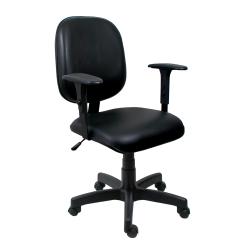Cadeira Diretor Operativa Com Braço Regulável Couro Ecológico Preto - ULTRA Móveis