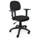 Cadeira Secretária Jserrano Preto Com Braço - ULTRA Móveis