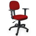 Cadeira Secretária Jserrano Vermelho Com Braço - ULTRA Móveis