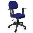 Cadeira Secretária Jserrano Azul Com Preto Com Braço - ULTRA Móveis