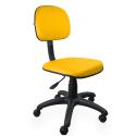 Cadeira Secretária Couro Ecológico Amarelo - ULTRA Móveis