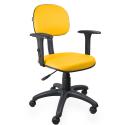 Cadeira Secretária Couro Ecológico Amarelo Com Braço - ULTRA Móveis