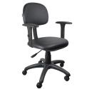 Cadeira Secretária Couro Ecológico Preto Com Braço - ULTRA Móveis