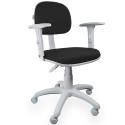 Cadeira Secretária Jserrano Preto Com Braço Base Cinza - ULTRA Móveis