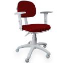 Cadeira Secretária Jserrano Vermelho Com Preto Com Braço Base Cinza - ULTRA Móveis