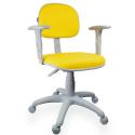 Cadeira Secretária Couro Ecológico Amarelo Com Braço Base Cinza - ULTRA Móveis