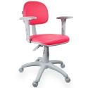 Cadeira Secretária Couro Ecológico Rosa Com Braço Base Cinza - ULTRA Móveis