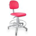 Cadeira Caixa Couro Ecológico Rosa Base Cinza - ULTRA Móveis
