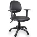 Cadeira Ergonômica NR17 Couro Ecológico Preto - ULTRA Móveis