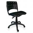 Cadeira Giratória Plástica Preta Anatômica - ULTRA Móveis