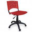 Cadeira Giratória Plástica Vermelha - ULTRA Móveis