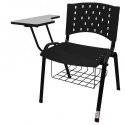 Cadeira Universitária Plástica Preta Com Porta Livros - ULTRA Móveis