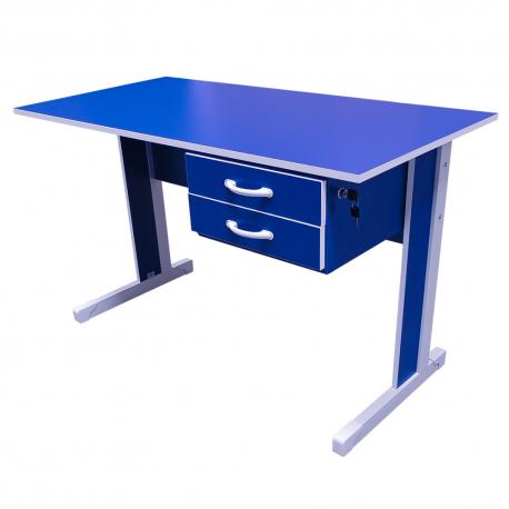 Mesa de 120cm Azul com 2 Gavetas Standard - ULTRA Móveis
