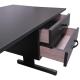 Mesa em L Preta com 2 Gavetas Home Office - ULTRA Móveis