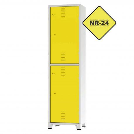 Roupeiro Insalubre GRPIS - 02 Portas com Sapateira Amarelo - CHAPA 26