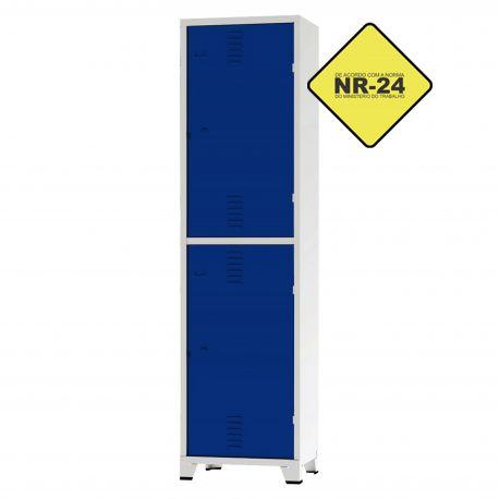 Roupeiro Insalubre GRPIS - 02 Portas com Sapateira Azul - CHAPA 26