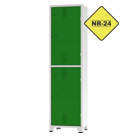 Roupeiro Insalubre GRPIS - 02 Portas com Sapateira Verde - CHAPA 26