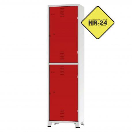 Roupeiro Insalubre GRPIS - 02 Portas com Sapateira Vermelho - CHAPA 26
