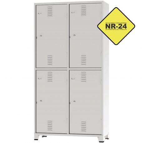 Roupeiro Insalubre GRPIS - 04 Portas com sapateira Cinza - CHAPA 26