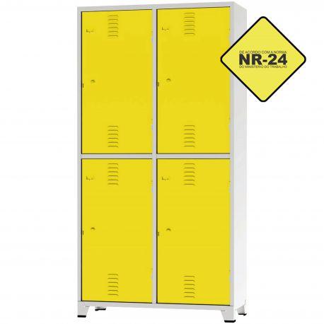 Roupeiro Insalubre GRPIS - 04 Portas com sapateira Amarelo - CHAPA 26