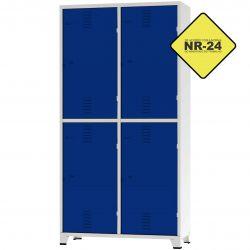 Roupeiro Insalubre GRPIS - 04 Portas com sapateira Azul - CHAPA 26