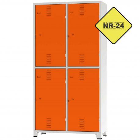 Roupeiro Insalubre GRPIS - 04 Portas com sapateira Laranja - CHAPA 26
