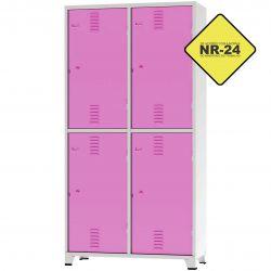 Roupeiro Insalubre GRPIS - 04 Portas com sapateira Rosa - CHAPA 26
