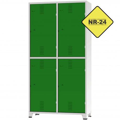 Roupeiro Insalubre GRPIS - 04 Portas com sapateira Verde - CHAPA 26