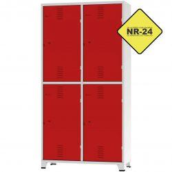 Roupeiro Insalubre GRPIS - 04 Portas com sapateira Vermelho - CHAPA 26