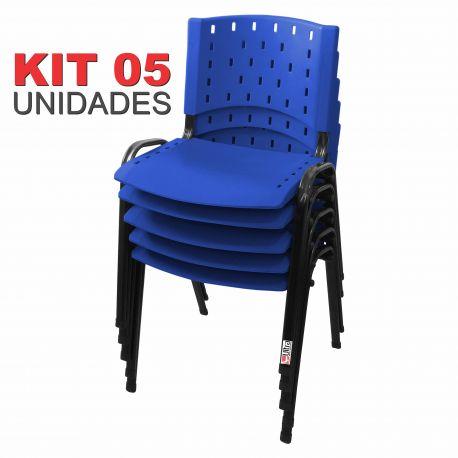 Cadeira Empilhável Azul - Kit com 05 unidades