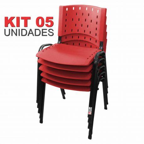 Cadeira Empilhável Vermelha - Kit com 05 Unidades