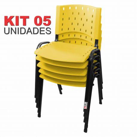 Cadeira Empilhável Amarela - Kit com 05 Unidades