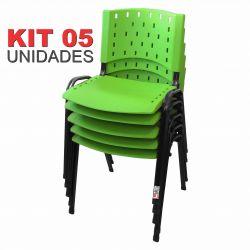 Cadeira Empilhável Verde - Kit com 05 Unidades