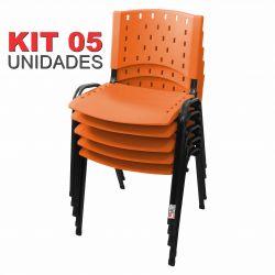 Cadeira Empilhável Laranja - Kit com 05 unidades