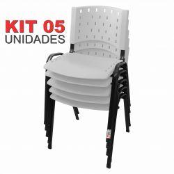 Cadeira Empilhável Branca - Kit com 05 Unidades