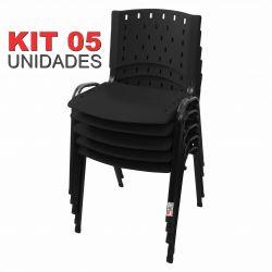 Cadeira Empilhável Preto - Kit com 05 unidades
