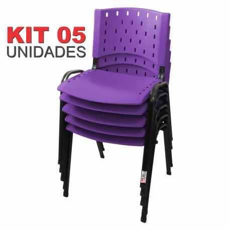 Cadeira Empilhável Lilás - Kit com 05 unidades
