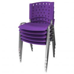 Cadeira Empilhável Ergoplax Azul Bic - Kit com 05 unidades