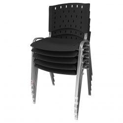 Kit 05 Unidades Cadeira Fixa Singolare Preto Estrutura Prata