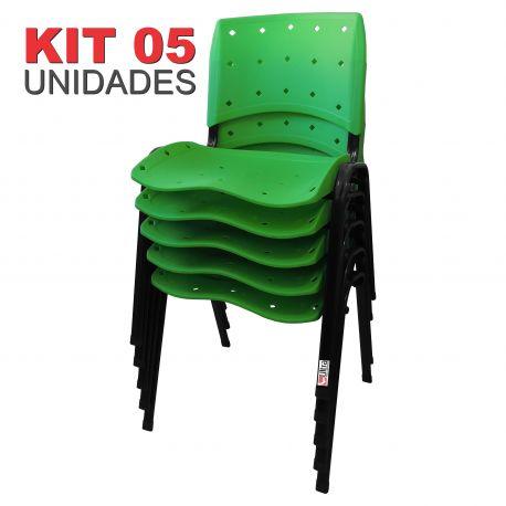 it 05 Unidades Cadeira Fixa Anatômica Ergoplax Assento Encosto Plástico Verde Limão