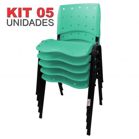 Cadeira Empilhável Ergoplax Acqua Marine - Kit com 05 unidades