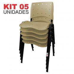 it 05 Unidades Cadeira Fixa Anatômica Ergoplax Assento Encosto Plástico Bege