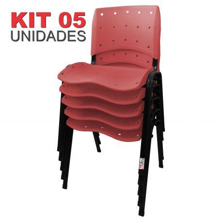 it 05 Unidades Cadeira Fixa Anatômica Ergoplax Assento Encosto Plástico Vermelho Cereja
