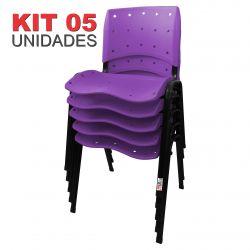 it 05 Unidades Cadeira Fixa Anatômica Ergoplax Assento Encosto Plástico Lilás